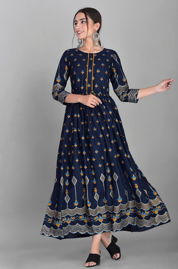 Rayon Ethnic Print Ankle Length Kurti Dress (Blue)