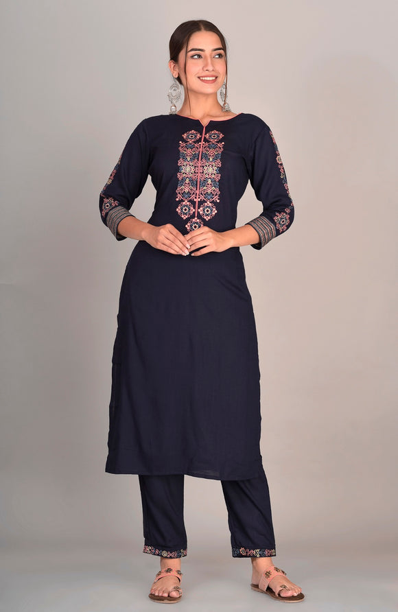 Rayon Thread Embroidered Kurti, Pant Set (Navy Blue)
