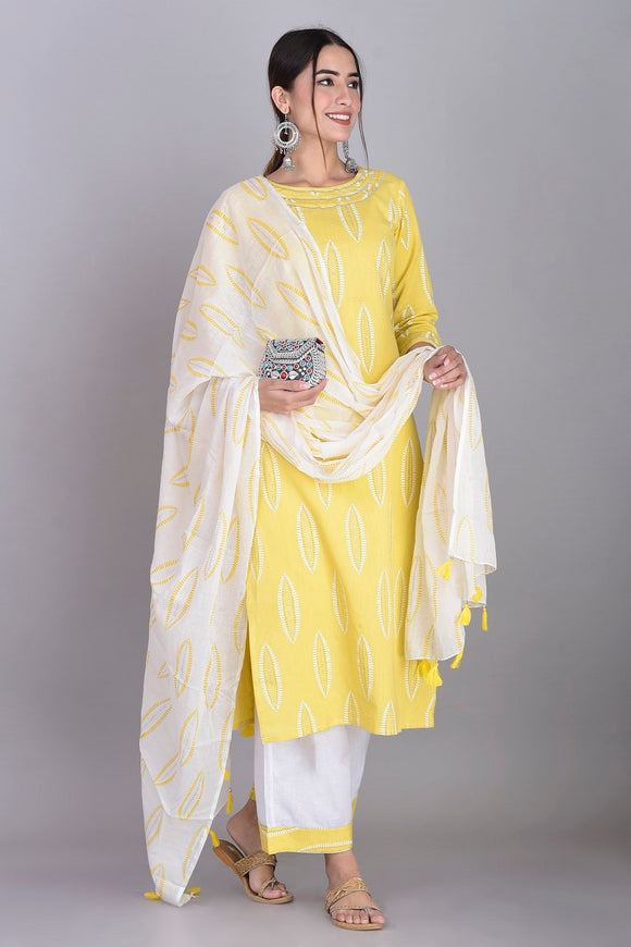 Cotton Abstract Print Kurti, Palazzo and Dupatta Set (Lemon)