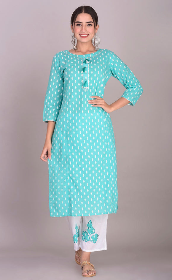 Cotton Print Embellished Kurti Palazzo Set (Green)