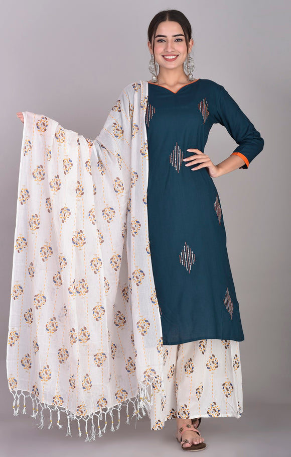 Rayon Hand Embroidered Kurti, Cotton Print Palazzo and Dupatta Set (Wine)