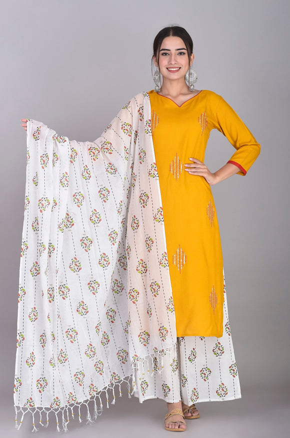 Rayon Hand Embroidered Kurti, Cotton Print Palazzo and Dupatta Set (Mustard)