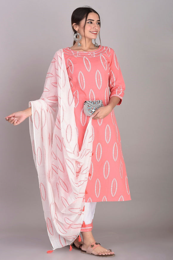 Cotton Abstract Print Kurti, Palazzo and Dupatta Set (Peach)