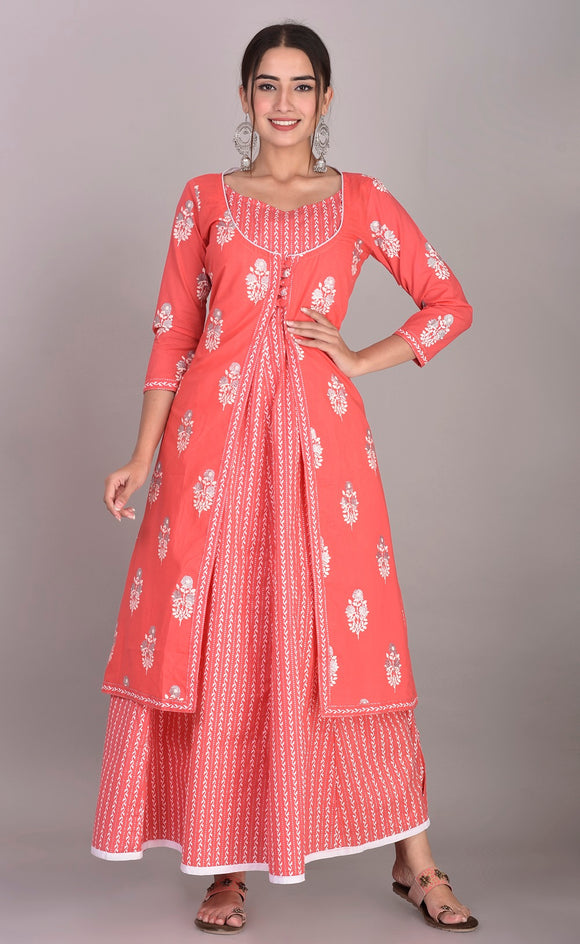 Cotton Ethnic Printed Flared Kurta and Jacket Set (Peach)