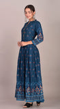 Rayon Ethnic Print Box Pleted Kurti Dress (Blue)