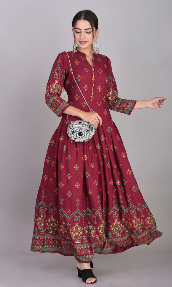 Rayon Ethnic Print Box Pleted Kurti Dress (Maroon)