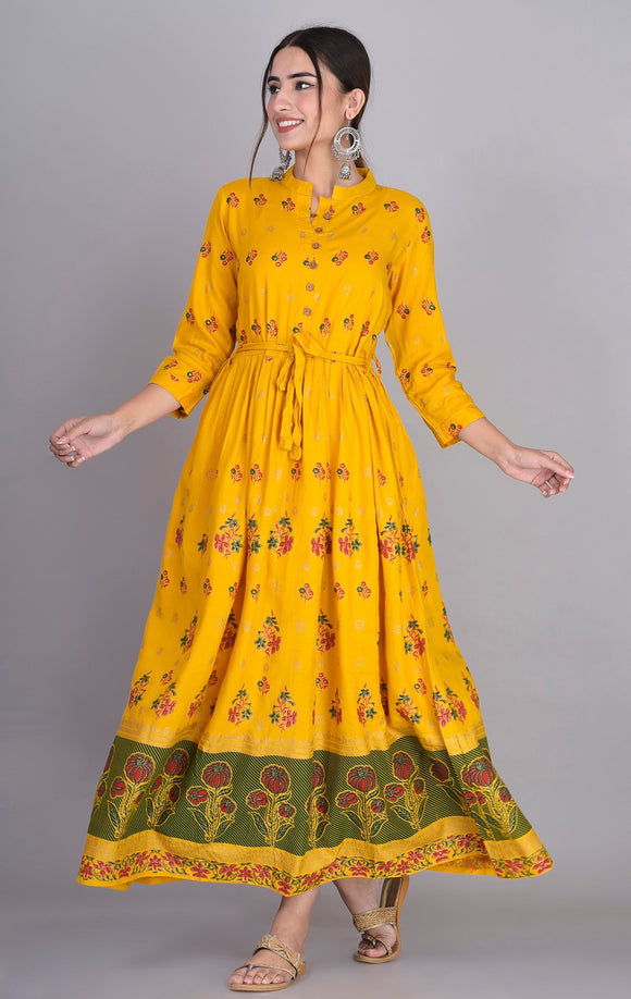 Rayon Ethnic Print Pleted Kurti Dress (Mustard)