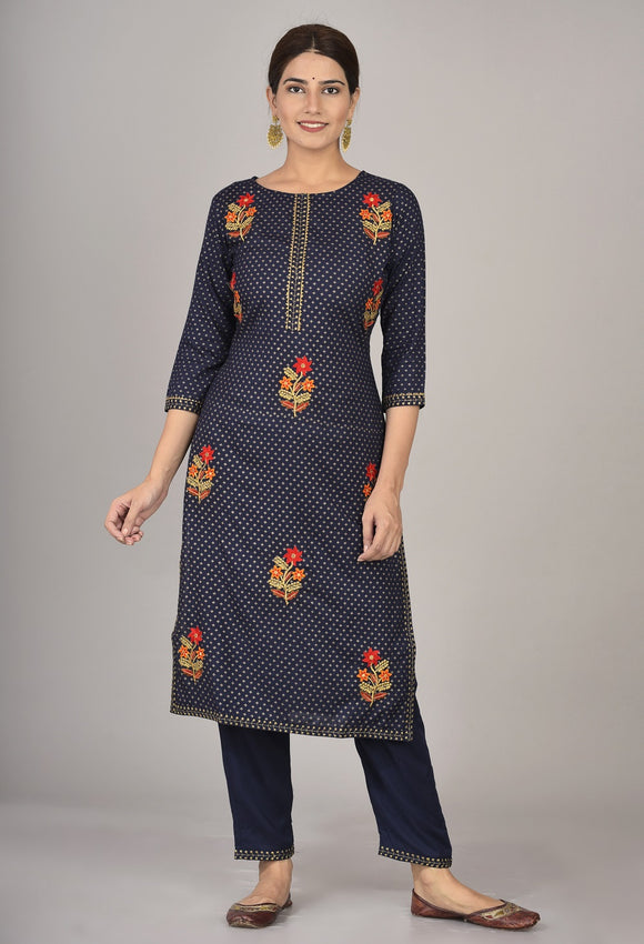Rayon Thread Embroidered Straight Kurta and Pant Set (Navy)