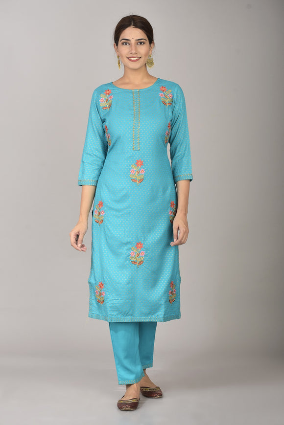 Rayon Thread Embroidered Straight Kurta and Pant Set (Turquoise)