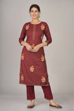 Rayon Thread Embroidered Straight Kurta and Pant Set (Maroon)