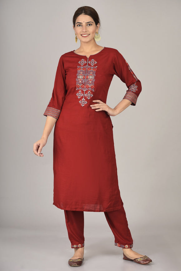 Rayon Thread Embroidered Kurti, Pant Set (Maroon)