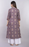 Rayon Abstract Print A-line Kurta (Grey)