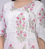 Cotton Floral Print Angrakha A-line Kurta and Palazzo Set (Pink)