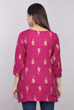 Rayon Animal Print Straight Top with Tassels - Pink