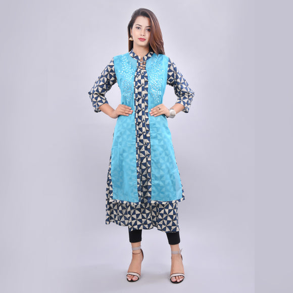 Vedana Women's Chanderi Layered Embroidered Kurti (Blue)
