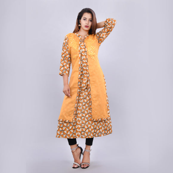 Vedana Women's Chanderi Layered Embroidered Kurti (Mustard)