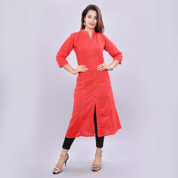Vedana Women's Red Solid A-line Cotton Kurti
