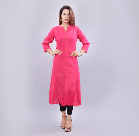 Vedana Women's Pink Solid A-line Cotton Kurti