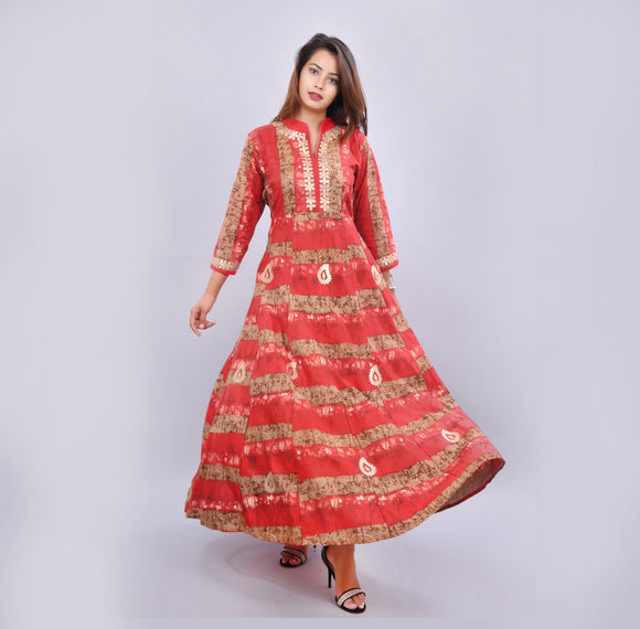 Vedana Women's Rayon Anarkali Kurta featuring Gota Work (Red)