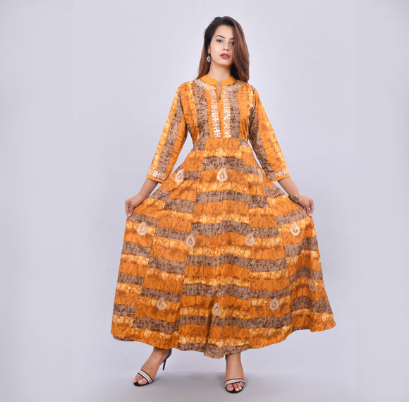Vedana Women's Flared Anarkali Kurti featuring Gota Work