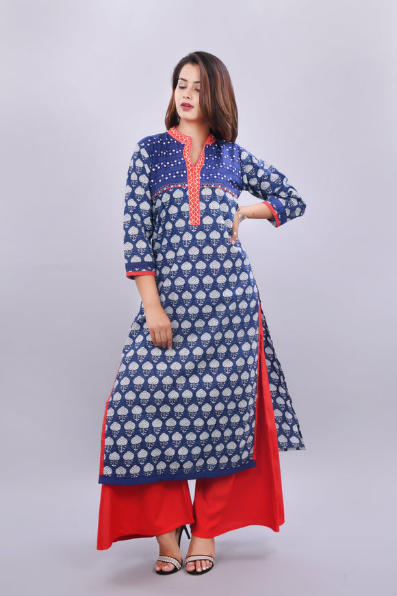 Cotton Indigo Print Kurta and Rayon Palazzo Set