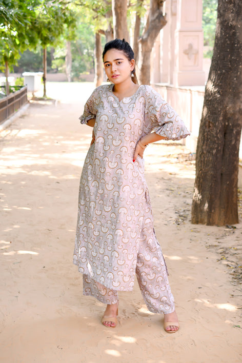 Rayon Printed Straight Kurta and Palazzo Set - Grey