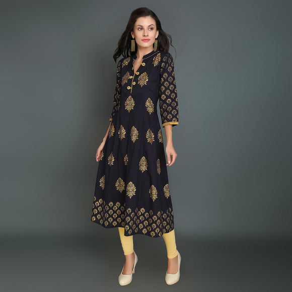 Vedana Women's Cotton Gold Print Dark Blue Kurti