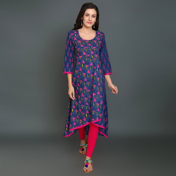 Women's Cotton Layered High Low Kurti with Kaantha Work (Blue)