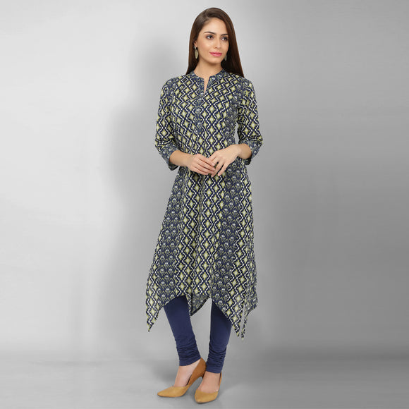 Vedana Women's Cotton Printed High Low Hem Blue Kurti