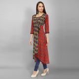 Cotton Print A-line High Low Hem Kurti with Kantha Work