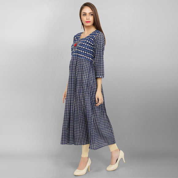 Cotton Blue Printed Checkered Pleted Kurti