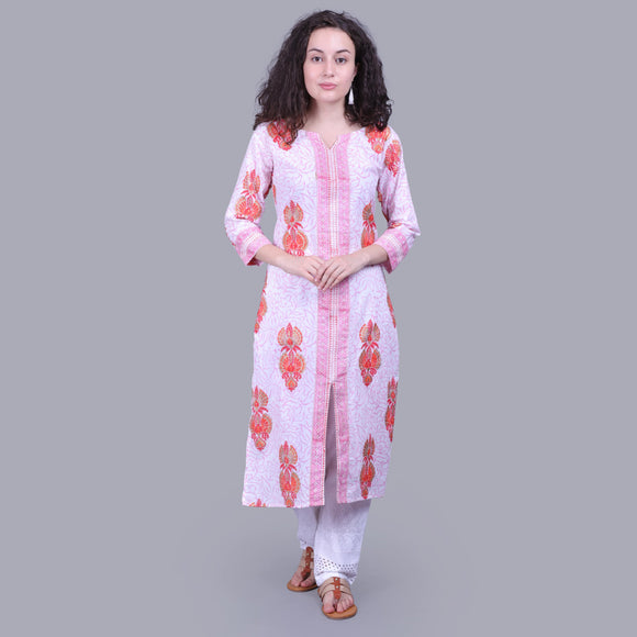 Vedana Cotton Block Print Straight Kurti