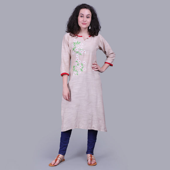 Vedana Cotton Linen Embroidered Kurta (Beige)