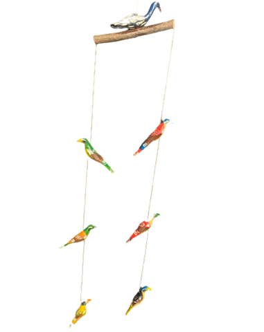 Hand Carved Wooden Bird Hanging Mobile