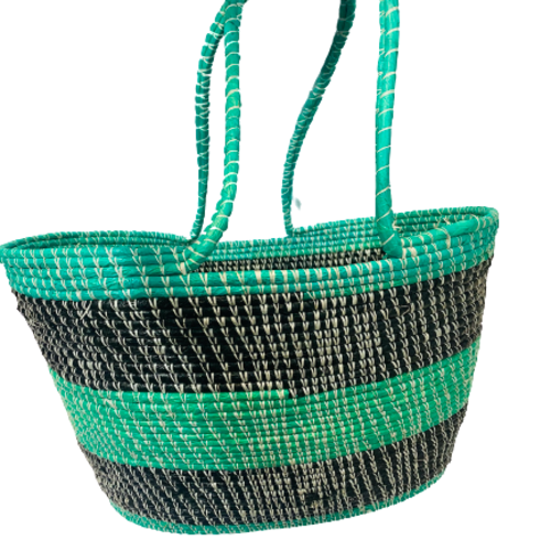 Green and Black Market Tote Basket with Handles