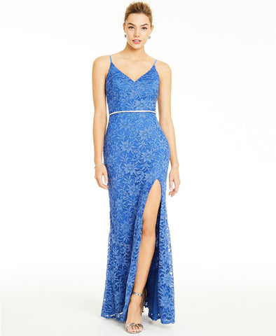 City Studios Glitter-Lace Slit Gown (SKU136)