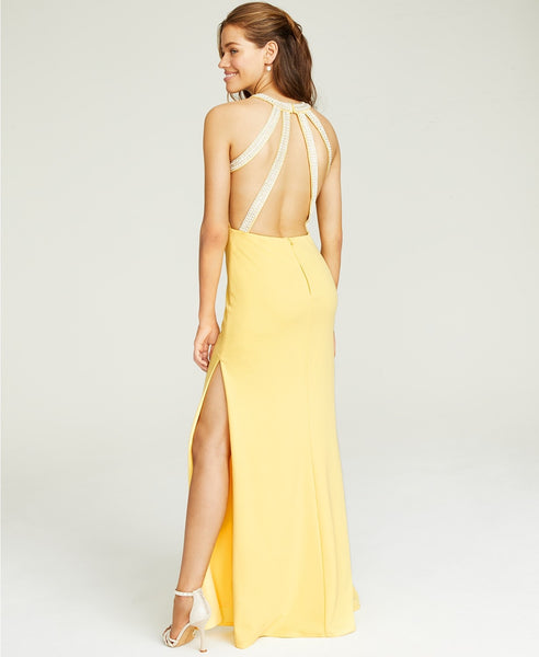 Speechless Beaded Strappy-Back Halter Gown (SKU148)