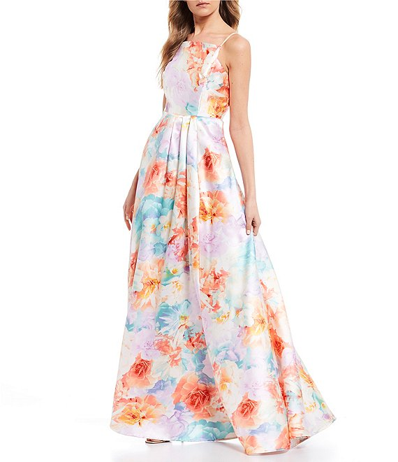 Midnight Doll Spaghetti Strap Floral Print Satin A-Line Long Dress (SKU154)