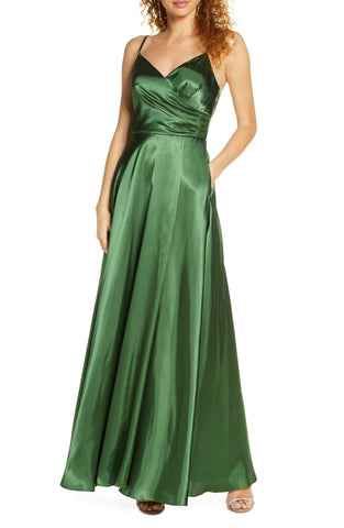 Morgan & Co. Pleated Surplice Satin Gown (SKU163)