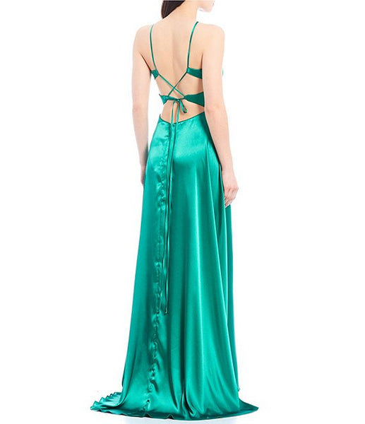 Blondie Nites Halter Neck Lace-Up Back Side Slit Satin Long Dress (SKU165)