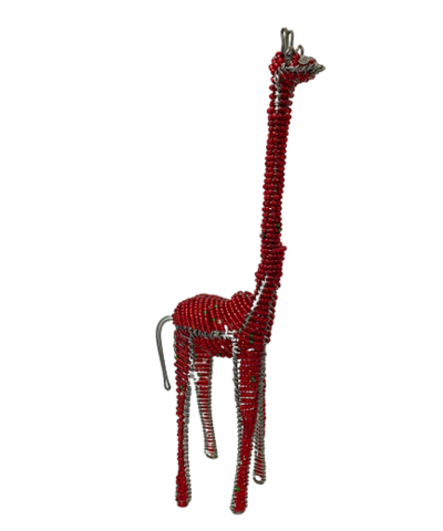 Hand Beaded Giraffe Figurine-Red