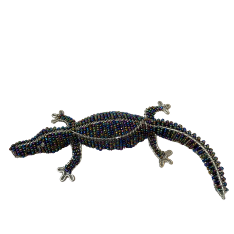 Hand Beaded Crocodile Figurine