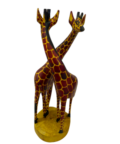 Hand Carved Wood Giraffe Duo- Small