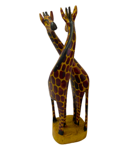 Hand Carved Wood Giraffe Duo- Large