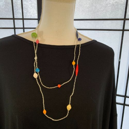 Ugandan Paper and Seed Bead Necklace
