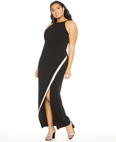 BCX Trendy Plus Size Rhinestone Bias Slit Gown (SKU31)
