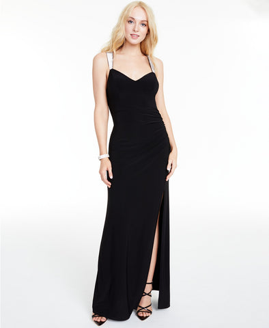 B Darlin Rhinestone-Strap Draped-Back Gown (SKU39)