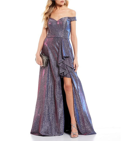 Blondie Nites Off-The-Shoulder Shimmer Shine Ruffle Side Slit Long Dress (SKU40)