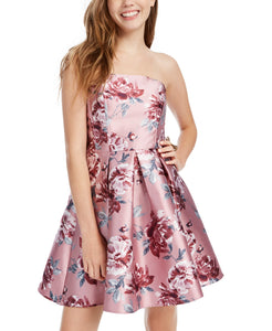 Speechless Strapless Floral-Print Fit & Flare Dress (SKU4)