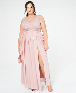 City Studios Trendy Plus Size Glitter Lace & Chiffon Gown (SKU52)